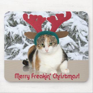 Gato del gatito y Felices Navidad de Freakin de Alfombrilla De Ratón