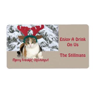 Gato del gatito y Felices Navidad de Freakin de Etiqueta De Envío