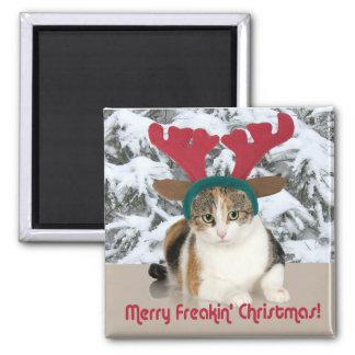 Gato del gatito y Felices Navidad de Freakin de Imán Cuadrado