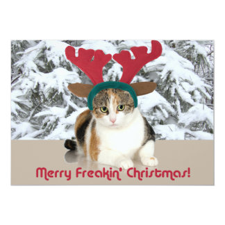 Gato del gatito y Felices Navidad de Freakin de Invitación 12,7 X 17,8 Cm