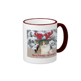 Gato del gatito y Felices Navidad de Freakin de la Taza A Dos Colores