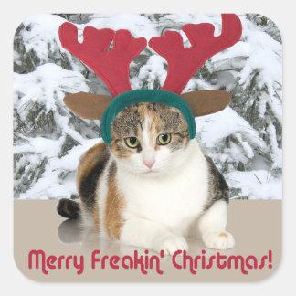 Gato del gatito y Felices Navidad de Freakin de Pegatina Cuadrada
