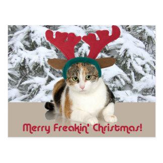 Gato del gatito y Felices Navidad de Freakin de Postal