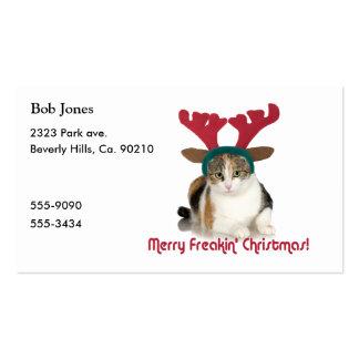 Gato del gatito y Felices Navidad de Freakin de Tarjetas De Visita