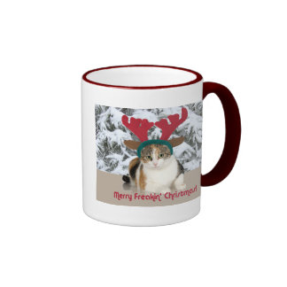 Gato del gatito y Felices Navidad de Freakin de Taza A Dos Colores