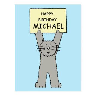 Gato del gris del feliz cumpleaños de Michael Postal