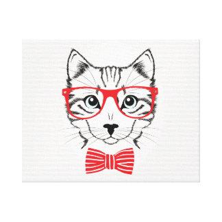Gato del inconformista con el arco rojo de lujo impresión en lienzo