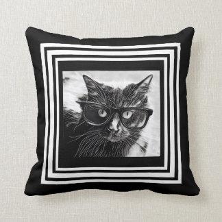 gato del en vidrios negro y blanco cojn decorativo
