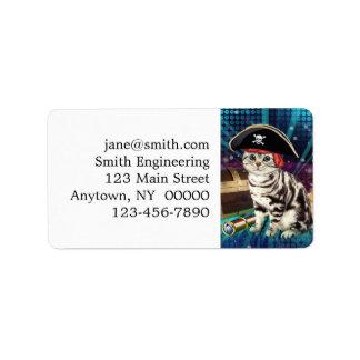 gato del pirata etiqueta de dirección
