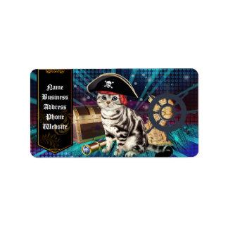 gato del pirata etiquetas de dirección