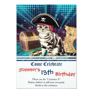 gato del pirata invitación 12,7 x 17,8 cm
