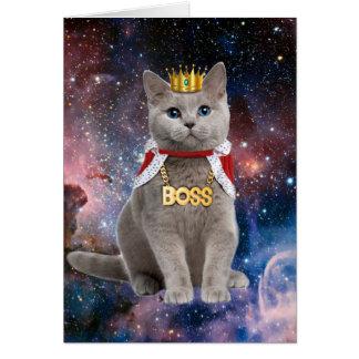 gato del rey en el espacio tarjeta de felicitación