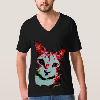 Gato del rojo de la camiseta de los hombres negros