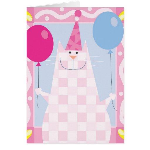 Gato del rosa del feliz cumpleaños felicitaciones