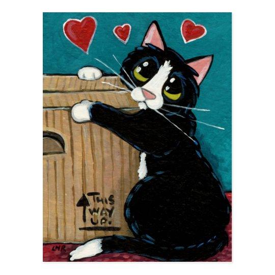 Gato del smoking en amor con la postal de la caja