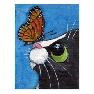 Gato del smoking y mariposa del virrey postal