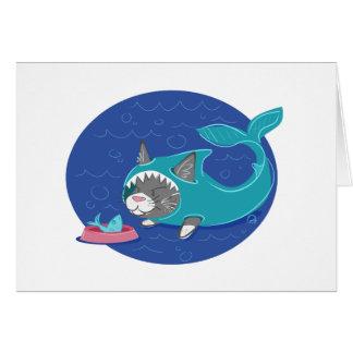 Gato del tiburón - tarjeta de felicitación