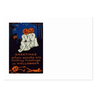 Gato del traje del fantasma de la calabaza de la tarjetas de visita grandes