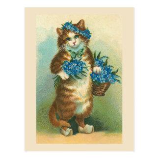 "Postal ""Gato del vintage con la postal de las"