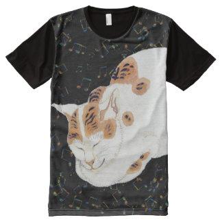 Gato del vintage y camiseta japoneses del arte de