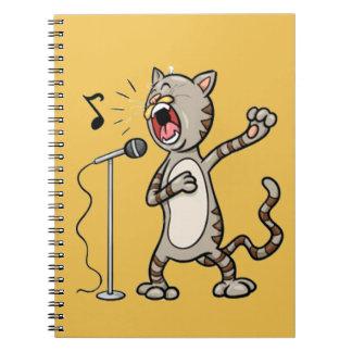 Gato divertido del canto cuaderno espiral/amarillo