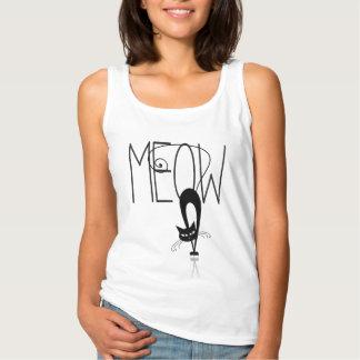 Gato divertido - gato estilizado del maullido del camiseta con tirantes