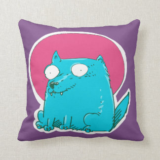 gato dulce que se sienta en el dibujo animado cojín decorativo