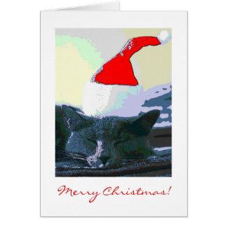 Gato en el gorra de Santa, tarjeta de Navidad