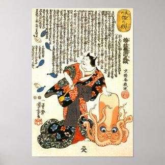 Gato en el kimono, bella arte del japonés de