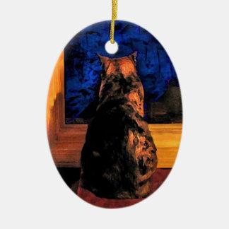 Gato en el ornamento del navidad de la ventana ornamentos de reyes