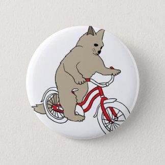 Gato en la bici de la juventud chapa redonda de 5 cm