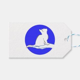 Gato en la mano, círculo azul etiquetas para regalos