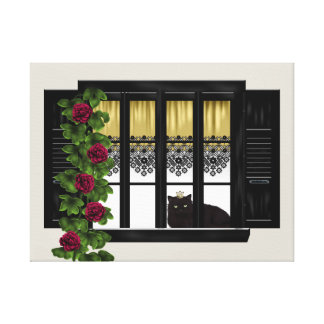 Gato en la ventana lienzo envuelto para galerías