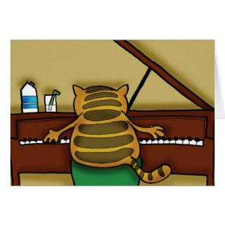 Gato en piano tarjeta de felicitación