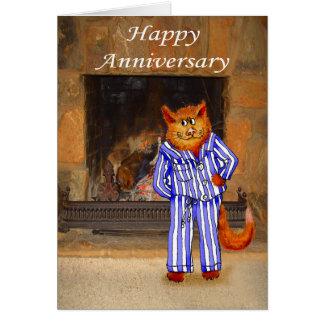 Gato en pijamas, aniversario feliz tarjeta de felicitación