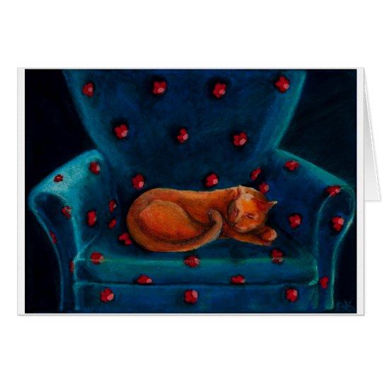 gato en silla tarjeta de felicitación