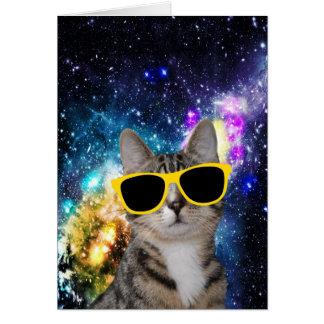 Gato en tarjeta de felicitación del espacio