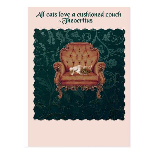 Gato en una postal de la cita del sofá