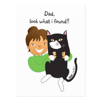 Gato encontrado postal