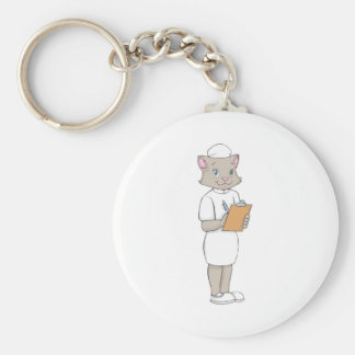 Gato femenino de la enfermera llavero redondo tipo chapa