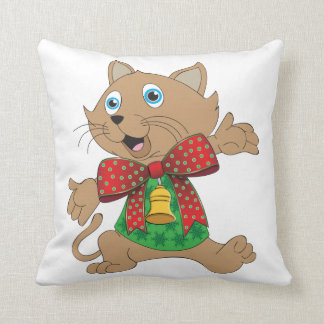 Gato feo del dibujo animado de Bowtie del suéter Cojín Decorativo