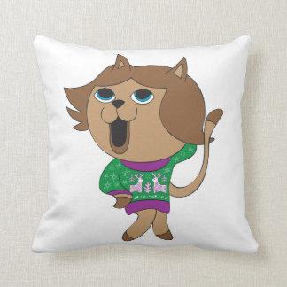 Gato feo del dibujo animado del chica de suéter cojín decorativo
