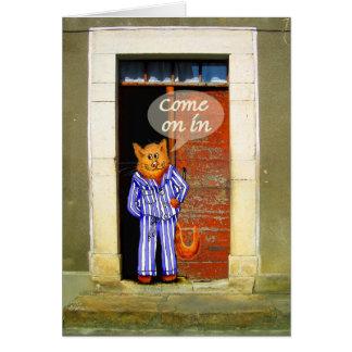 gato fresco en el pijama, invitación a venir tarjeta de felicitación