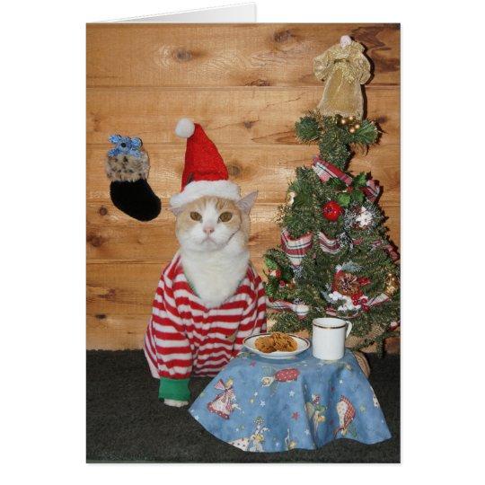 Gato/gatito del navidad en PJs Tarjeta De Felicitación