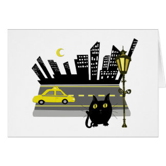Gato gordo en el notecard de la ciudad tarjeta pequeña