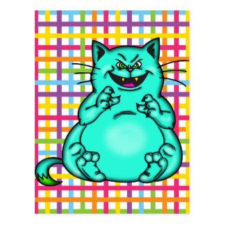 Gato gordo y feliz del dibujo animado postal