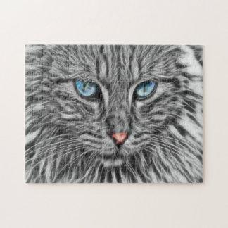 Gato gris con arte del fractal de los ojos azules puzzle