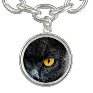 Gato gris con los ojos anaranjados pulsera