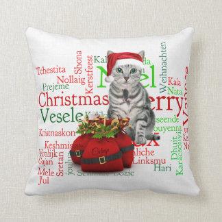 Gato gris del navidad del Tabby del monograma Cojín Decorativo