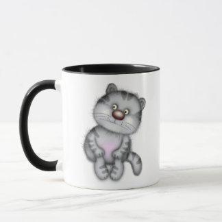Gato gris divertido taza